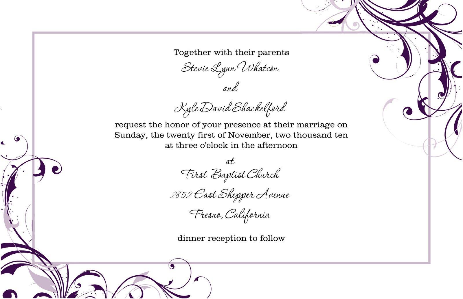 Free Wedding Invitation Templates For Word   Marina Gallery Fine Art - Free Printable Wedding Invitation Templates For Word