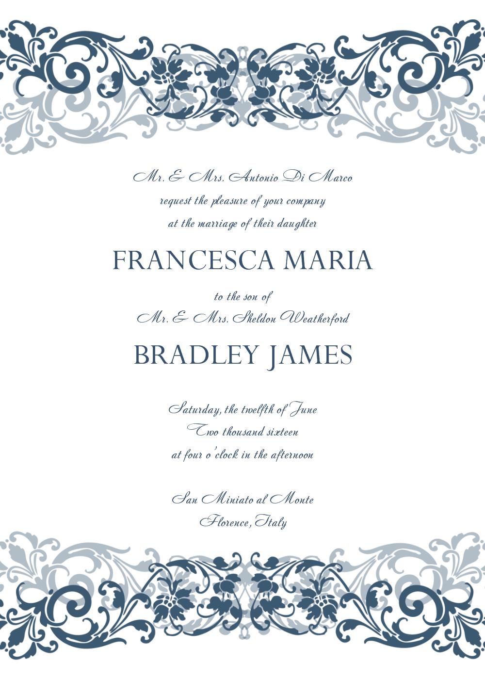 Free Wedding Invitation Templates For Word | Wedding Invitation - Free Printable Wedding Cards