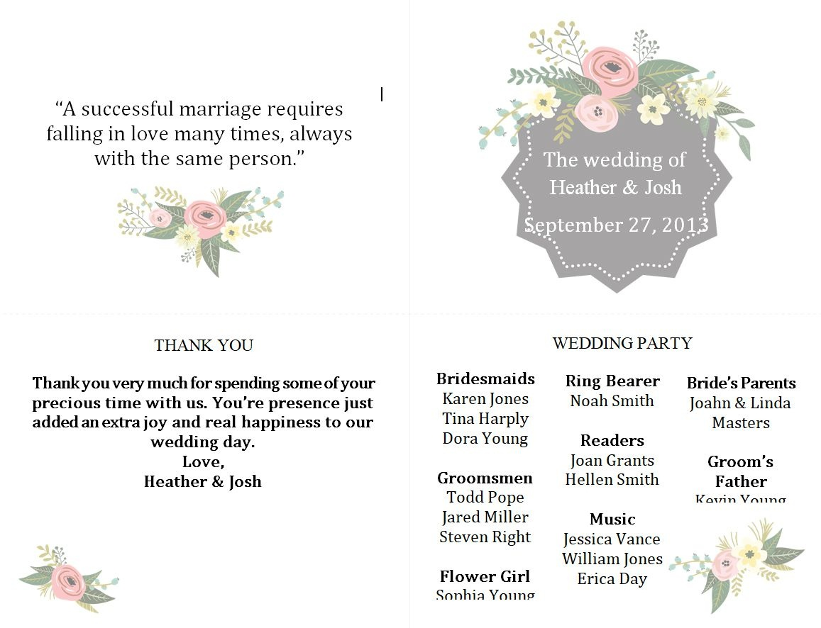 Free Wedding Program Templates You Can Customize - Free Printable Wedding Program Templates