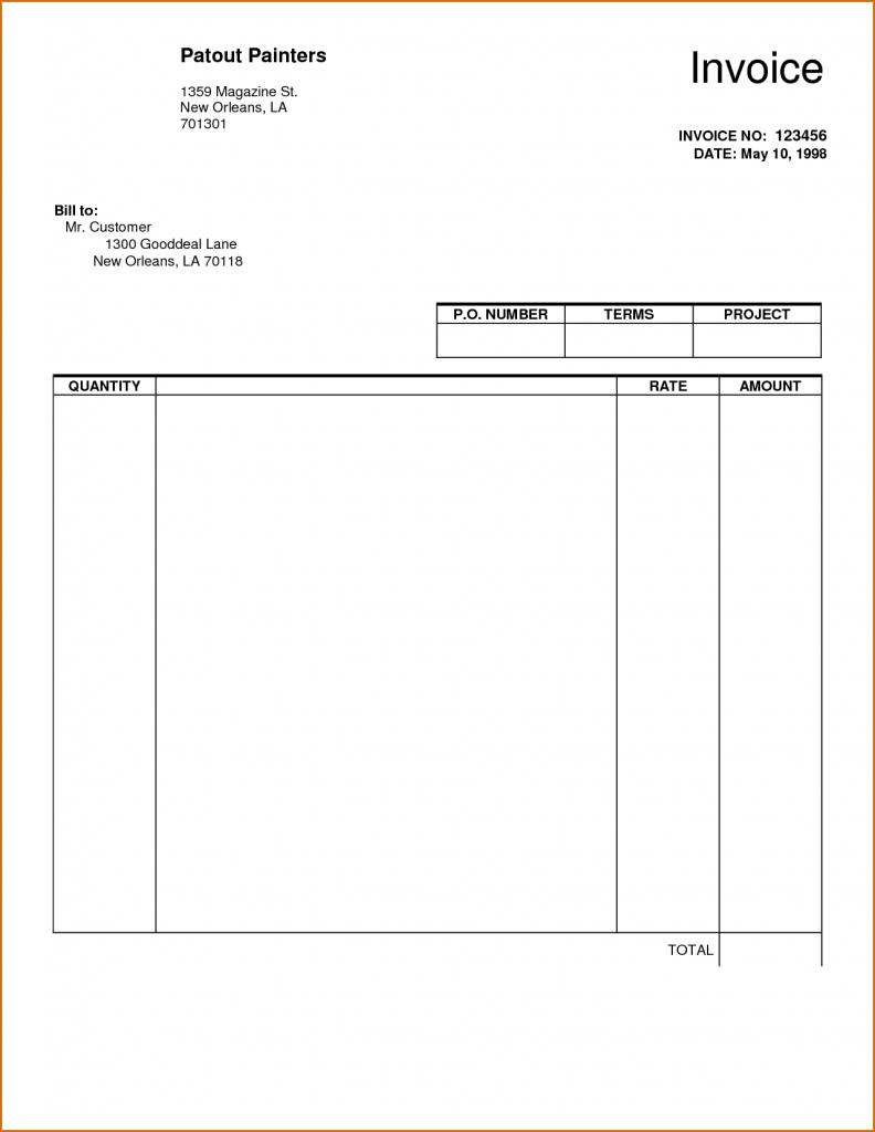 Free Word Printable Invoice Template Uk Blank Sheet Templates Sample - Free Printable Blank Invoice Sheet