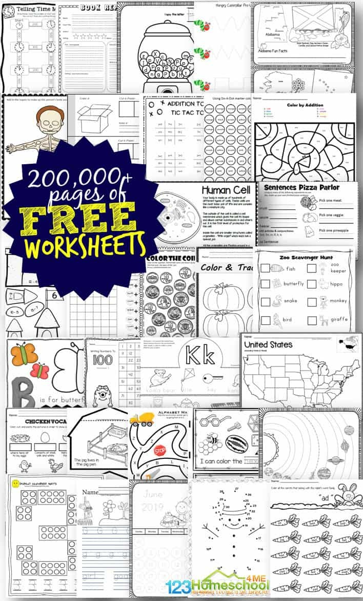 Free Worksheets - 200,000+ For Prek-6Th | 123 Homeschool 4 Me - Free Printable Activity Sheets For Kids