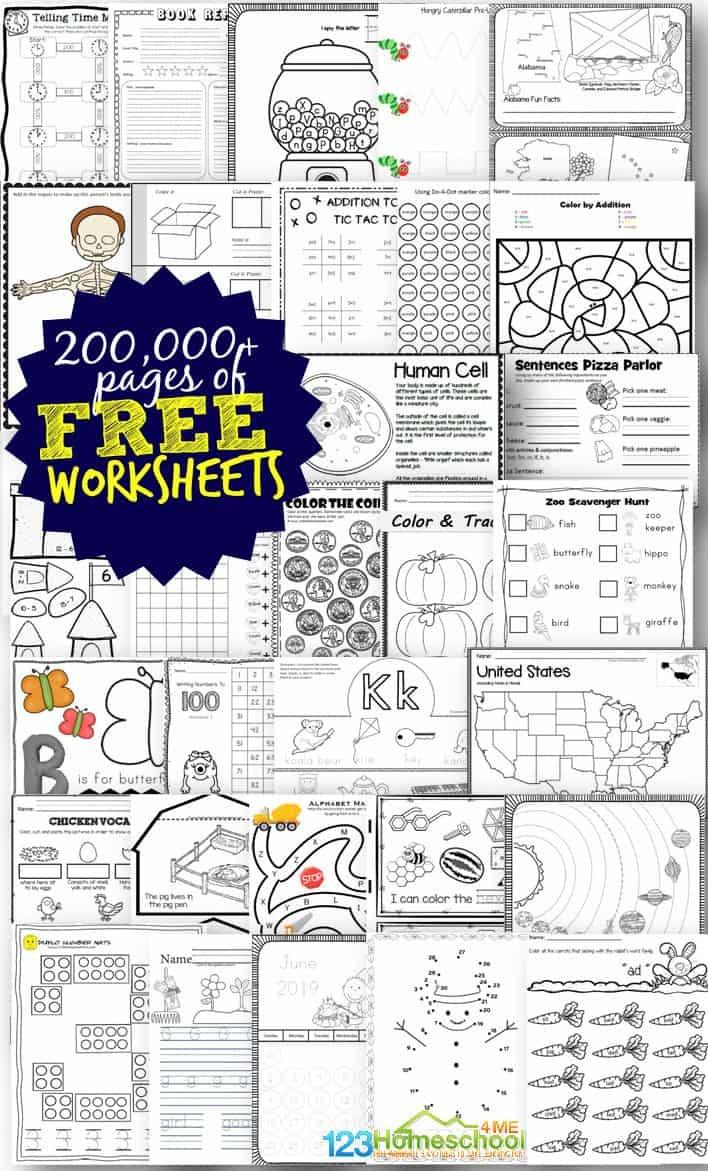 Free Worksheets - 200,000+ For Prek-6Th | 123 Homeschool 4 Me - Free Printable Toddler Learning Worksheets