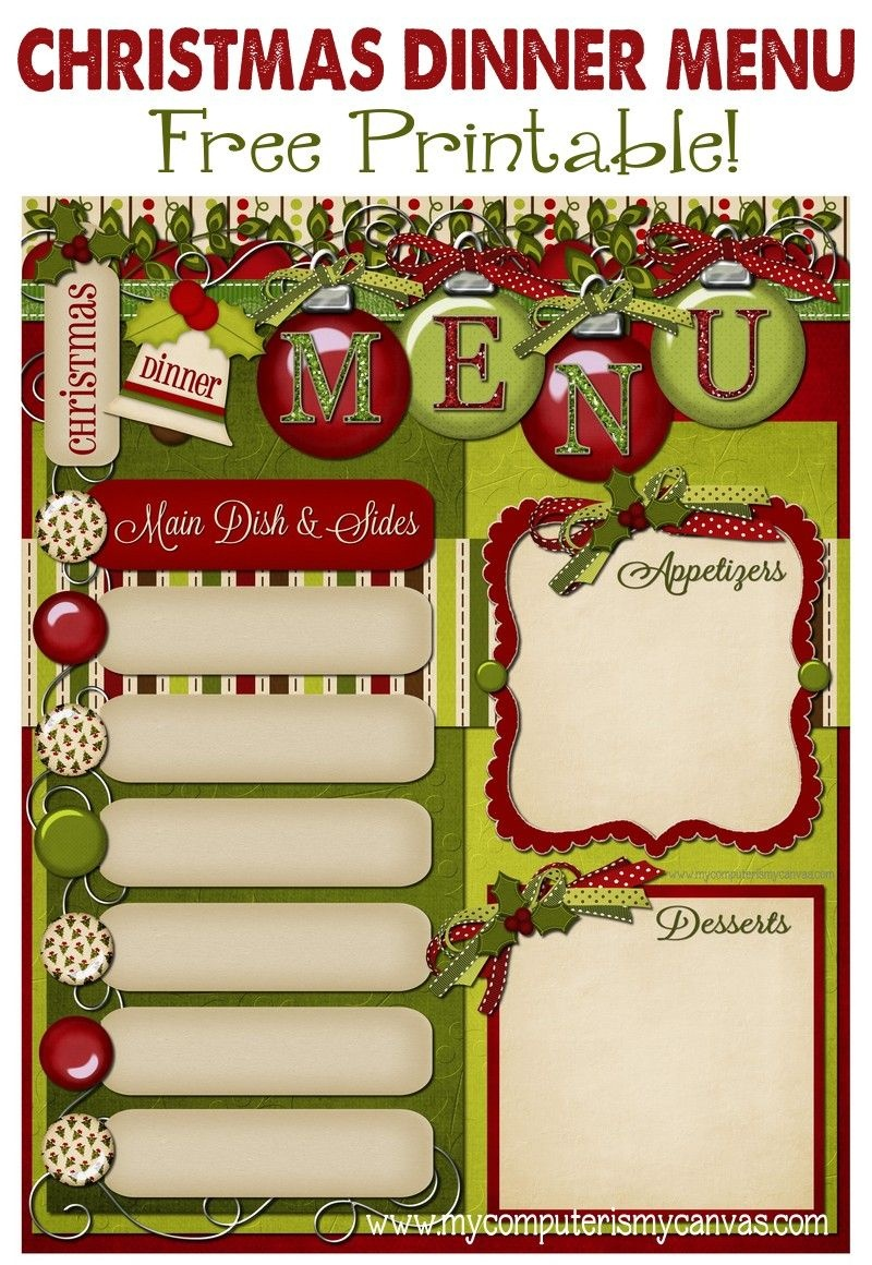 Freebie - Christmas Dinner Menu! | Christmas Ideas | Christmas - Free Printable Christmas Dinner Menu Template
