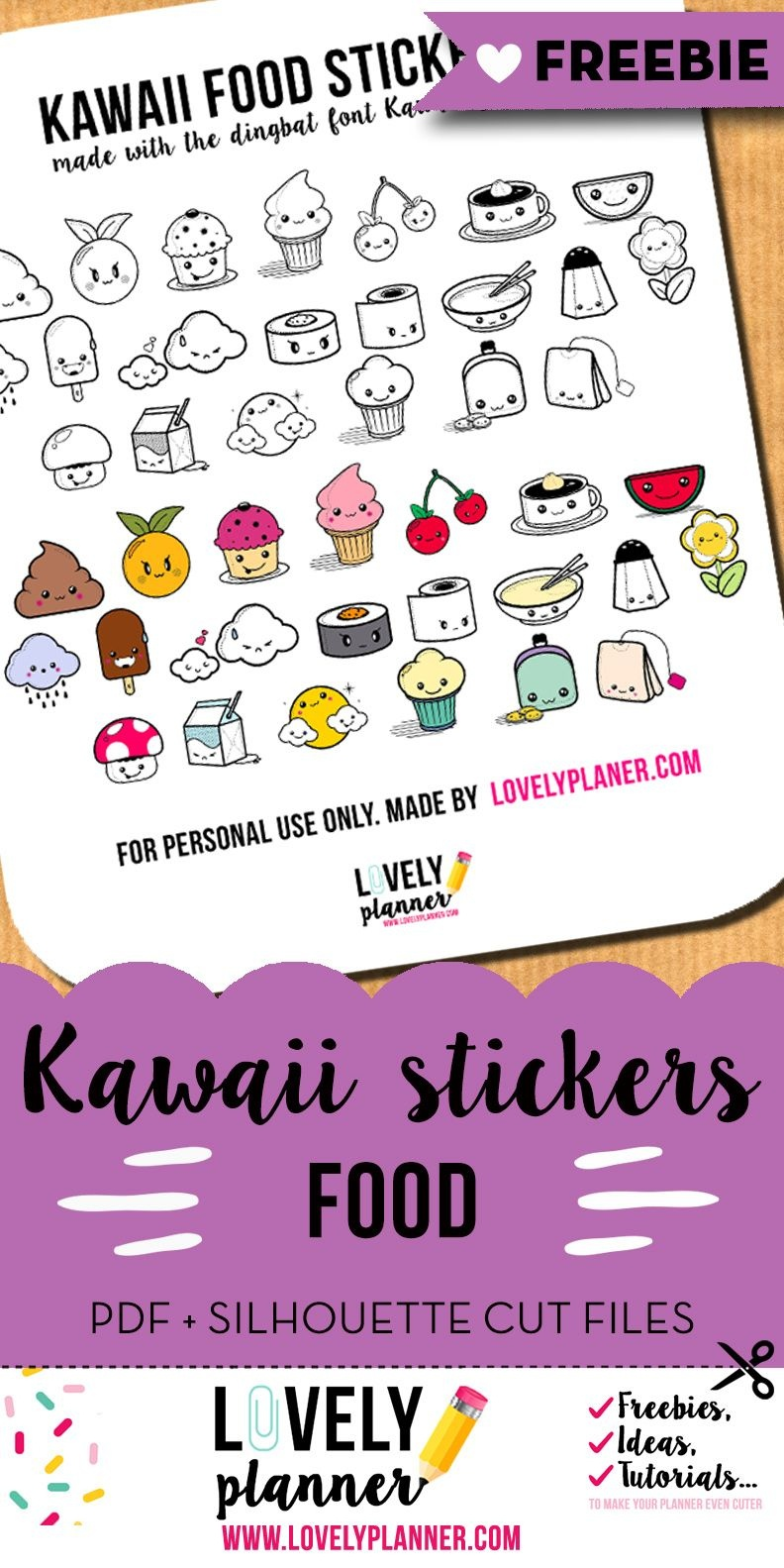Freebie} Cute Food Stickers For Your Planner | Filofax | Food - Free Printable Kawaii Stickers