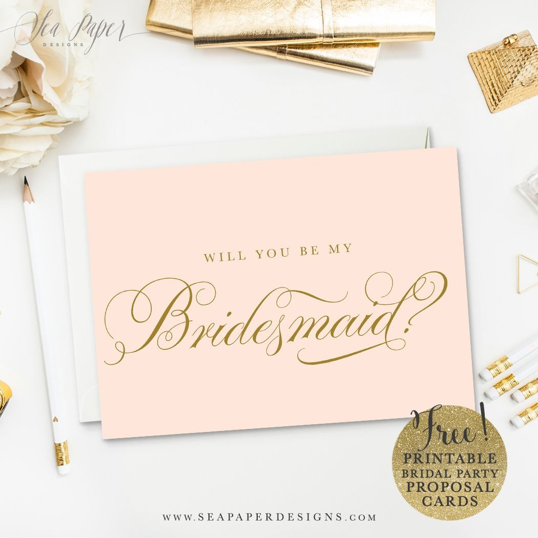 "Freebie} Printable Diy ""will You Be My Bridesmaid?"" Card Set - Free Printable Will You Be My Bridesmaid Cards"