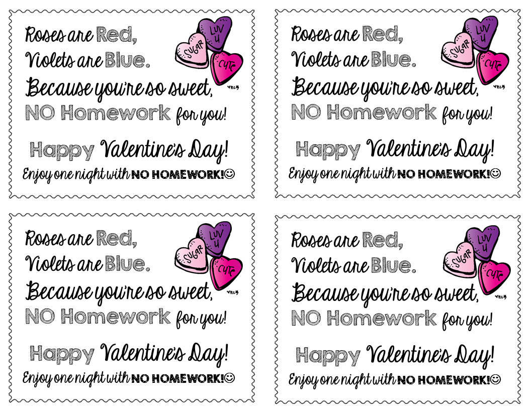 Freebie-Valentine's Day No Homework Passes | Free Products On Tpt - Free Printable Homework Pass Coupon