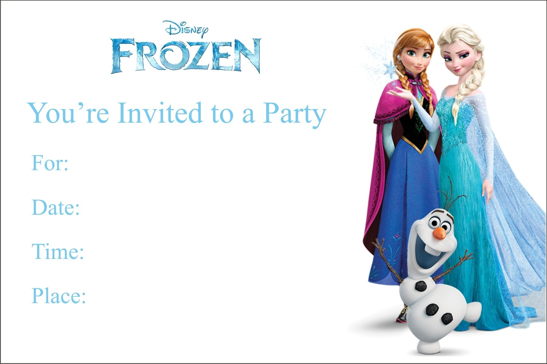 Frozen Free Printable Birthday Party Invitation Personalized Party - Free Printable Frozen Birthday Invitations