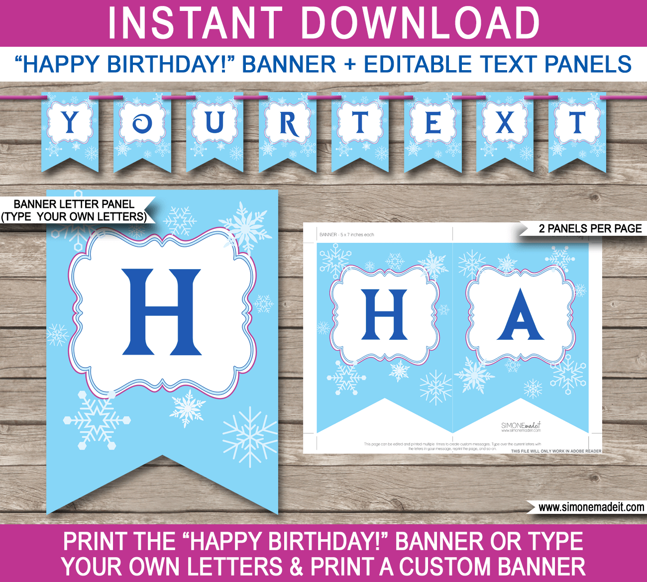 Frozen Party Banner Template   Birthday Banner   Editable Bunting - Frozen Happy Birthday Banner Free Printable