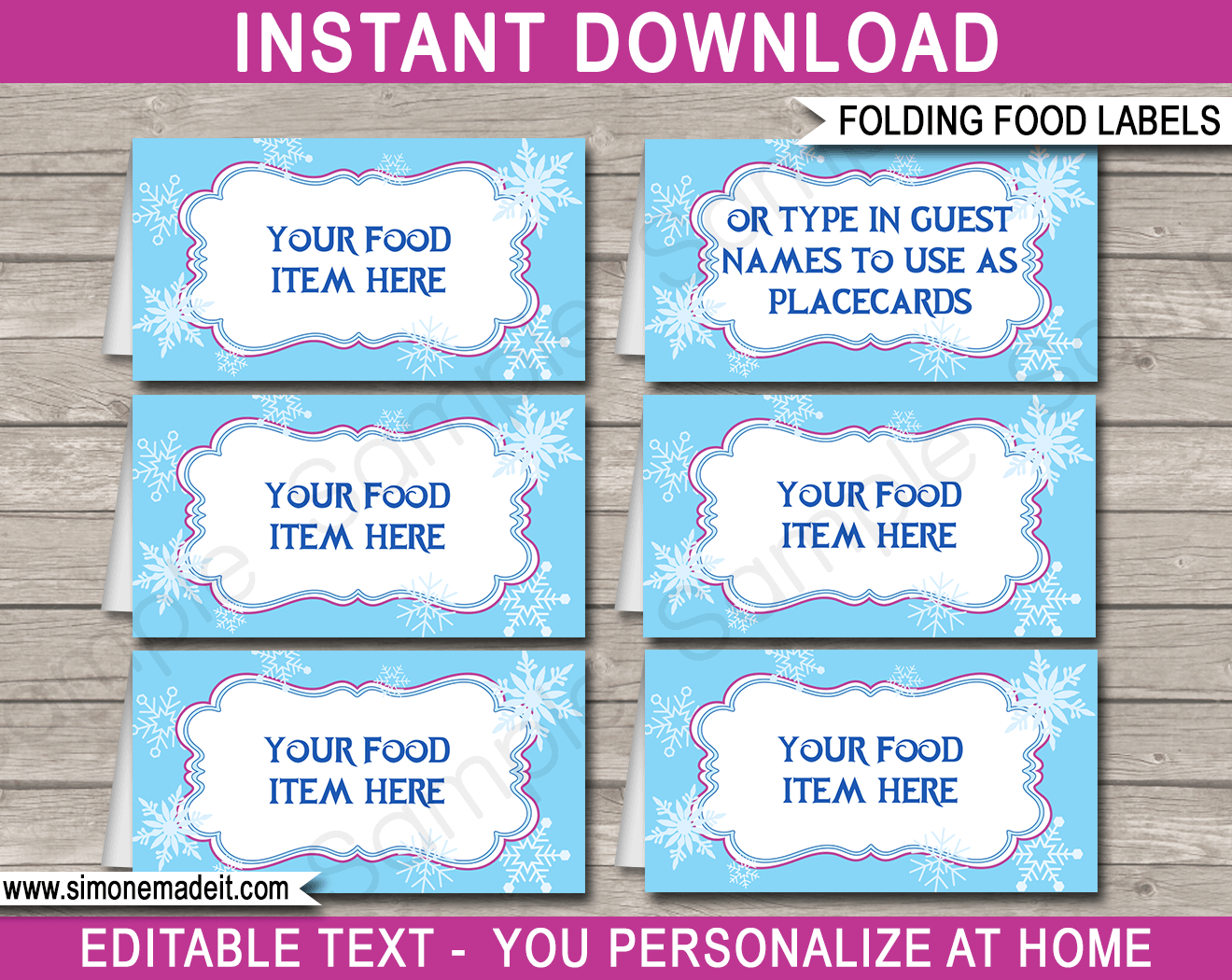 Frozen Party Food Labels | Place Cards | Winter Theme Birthday Party - Free Printable Buffet Food Labels