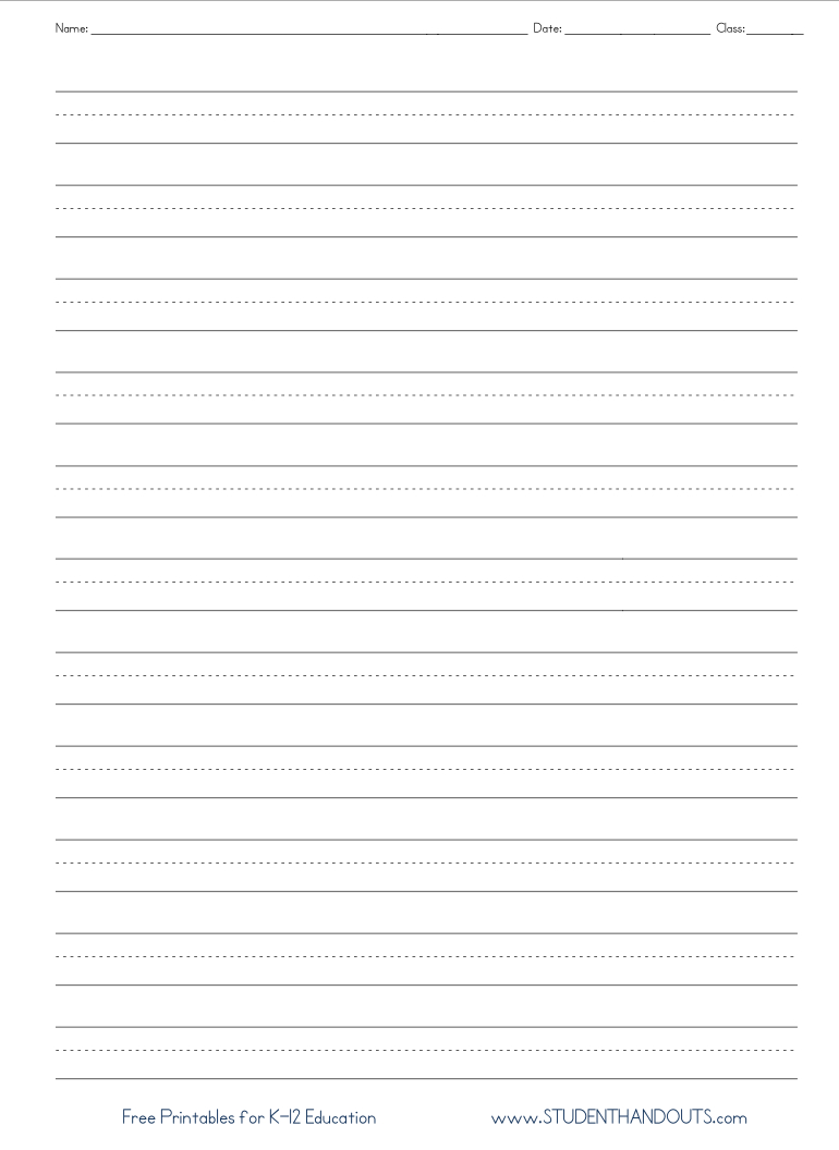 Full Page Writing Paper No Picture. Appropriate For Second Grade - Free Printable Writing Paper