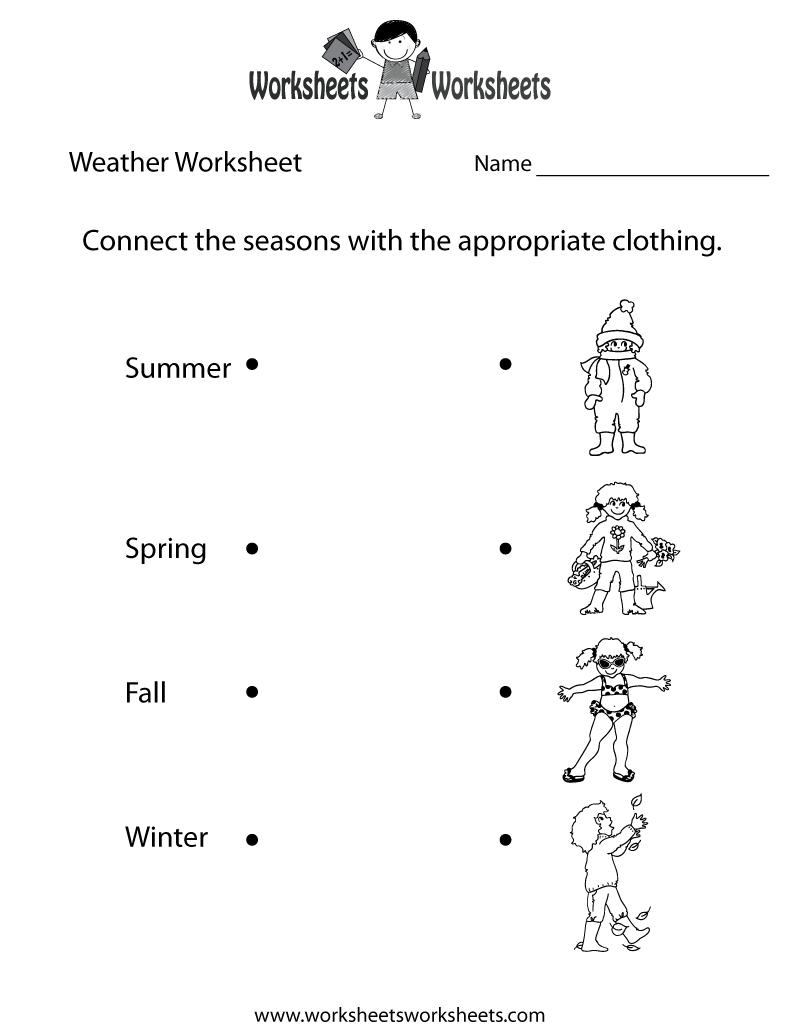 Fun Weather Worksheet Printable | Seasonal Worksheets | Weather - Free Printable Seasons Worksheets For Kindergarten