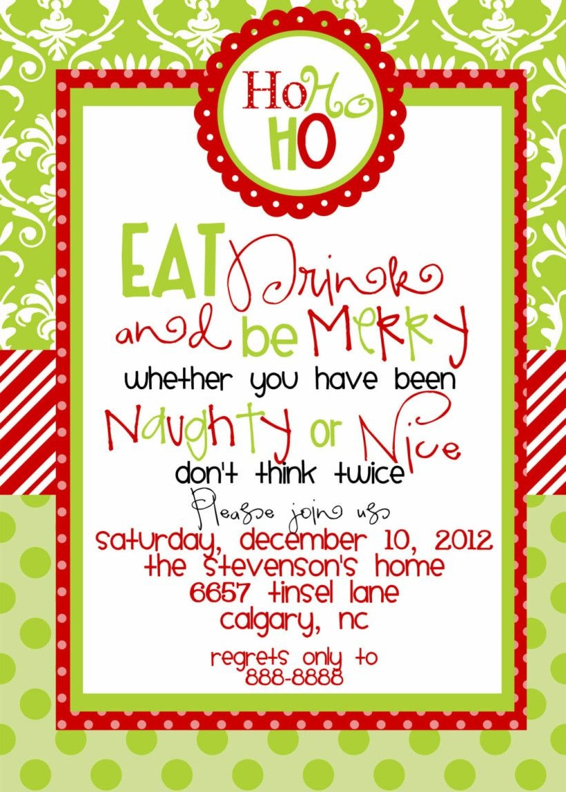 Funny Christmas Party Invitations Wording | Christmas Party - Holiday Invitations Free Printable