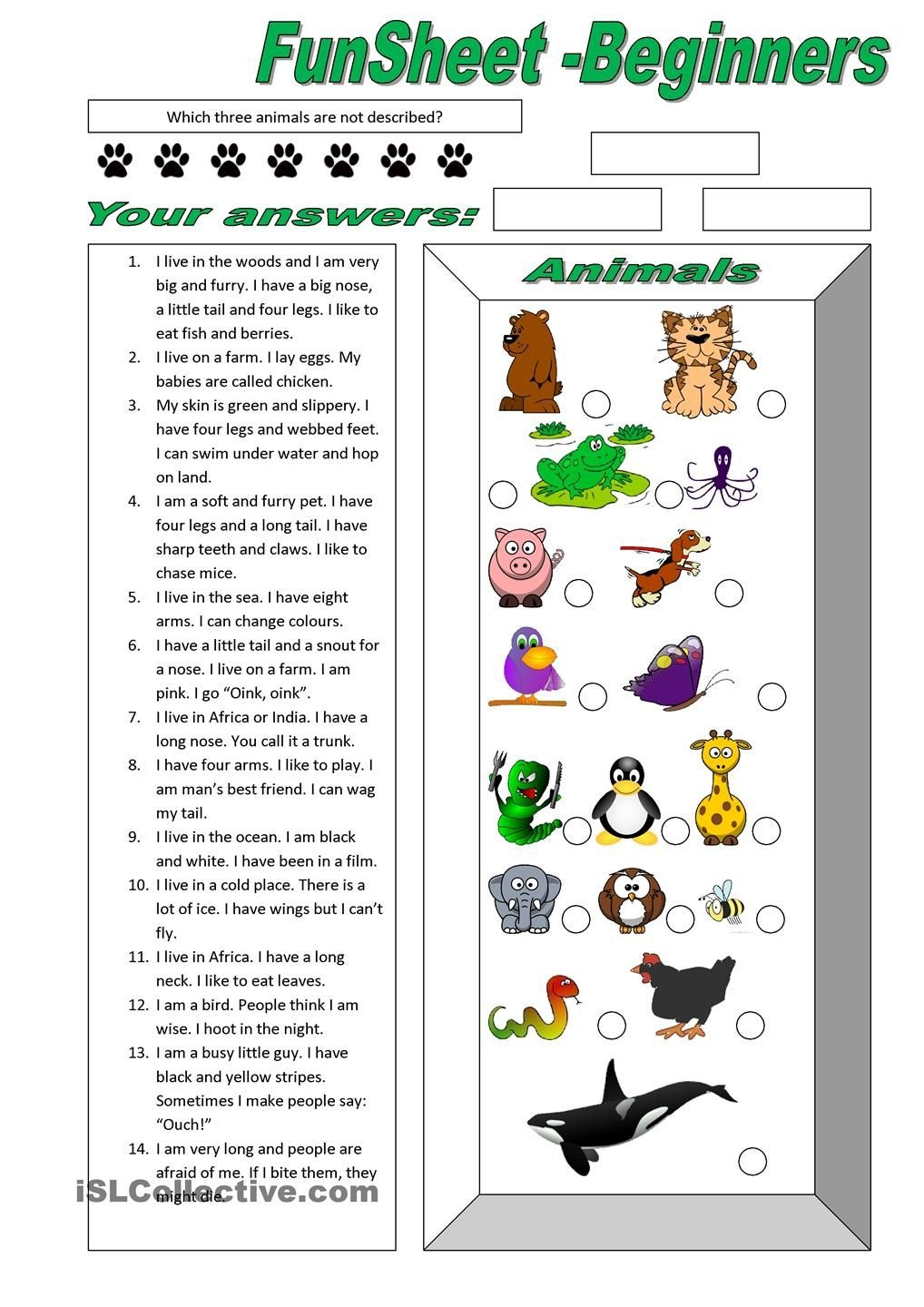 Funsheet For Beginners: Animals | Free Esl Worksheets | M | Animal - Free Printable English Lessons For Beginners