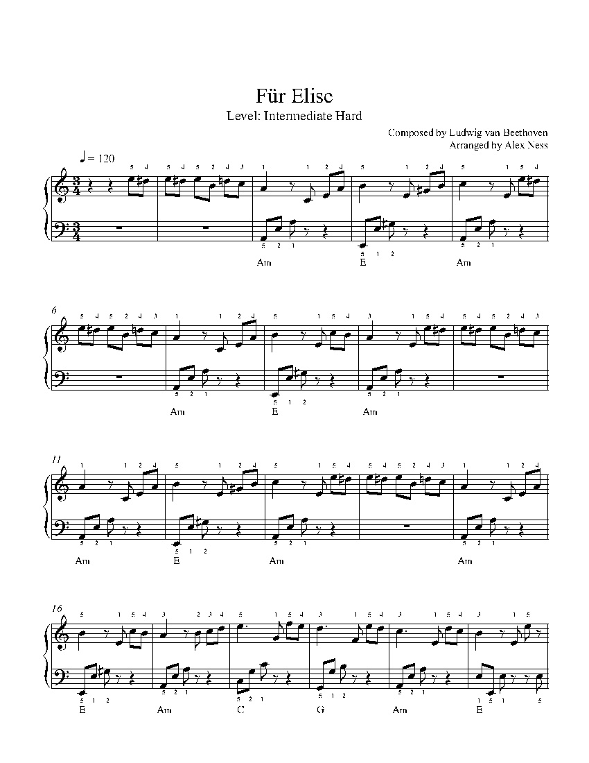 Für Eliseludwig Van Beethoven Piano Sheet Music | Intermediate Level - Free Printable Piano Sheet Music Fur Elise