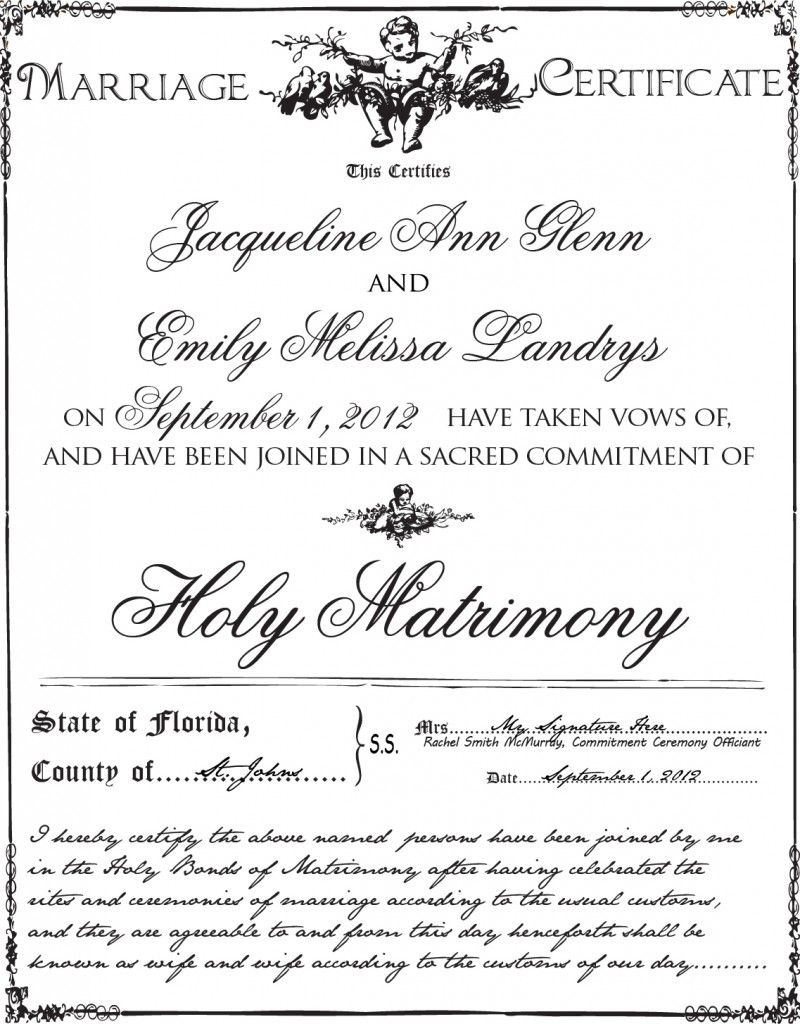 Gay Marriage Certificate Example | Gay & Lesbian Weddings | Lesbian - Commitment Certificate Free Printable