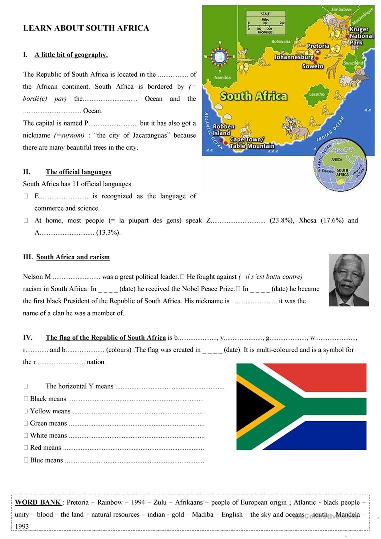 General Facts About South Africa Worksheet - Free Esl Printable - Free Printable Worksheets On Africa