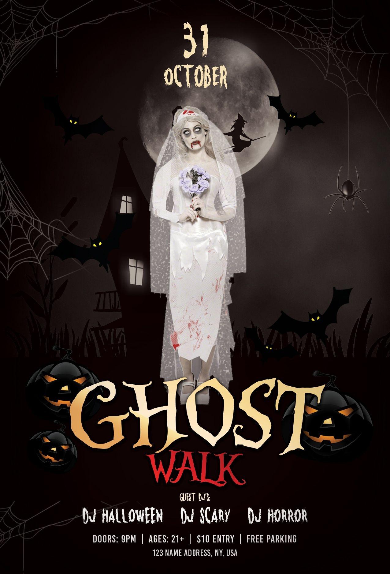 Ghost Walk – Halloween Free Psd Flyer Template #halloween #ghost - Free Printable Halloween Flyer Templates