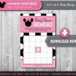 Girl Baby Shower Games Minnie Mouse Bingo Card Printable Baby | Etsy   Free Printable Mickey Mouse Baby Shower Games
