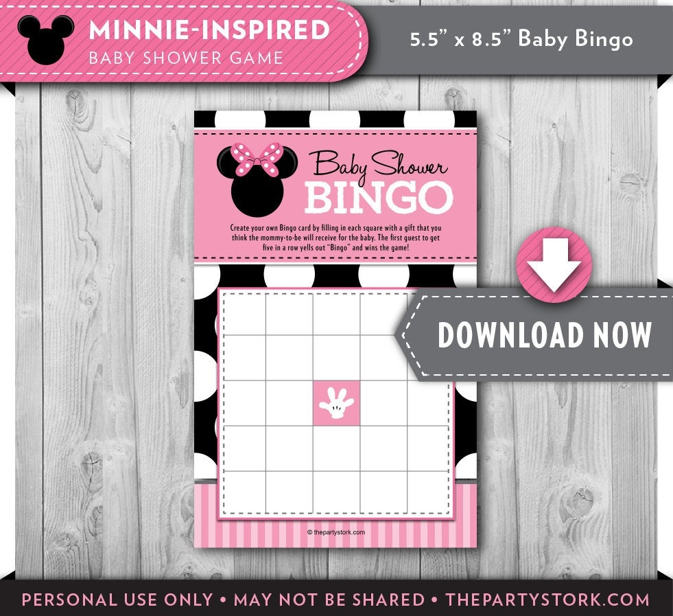 Girl Baby Shower Games Minnie Mouse Bingo Card Printable Baby | Etsy - Free Printable Mickey Mouse Baby Shower Games