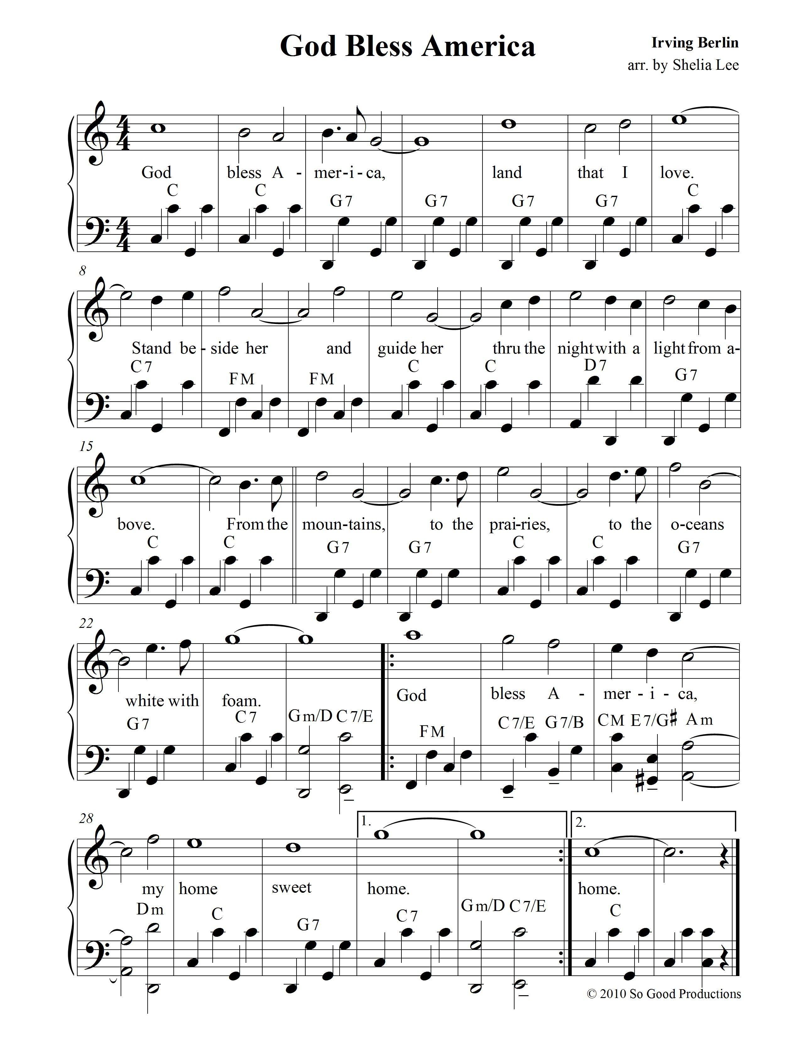 God Bless America Sheet Music Free Pdf - Google Search | Patriotic - Free Printable Gospel Sheet Music For Piano