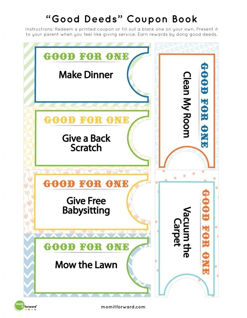 Good Deed Coupon Book Printables   Nothing But Printables   Coupon - Free Sample Coupons Printable