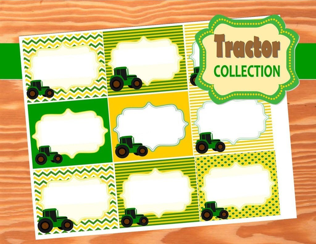 Green Tractor Party- Farm Party- Tractor Party- Food Labels   Green - Free Printable John Deere Food Labels