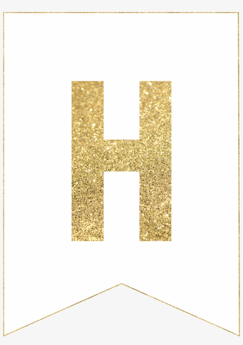 H Gold Alphabet Banner Letter - Printable Banner Letters Transparent - Free Printable Whole Alphabet Banner