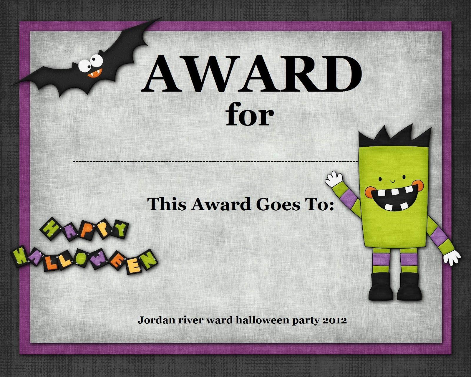Halloween Costume Award | Halloween | Halloween Costumes, Halloween - Free Printable Halloween Award Certificates