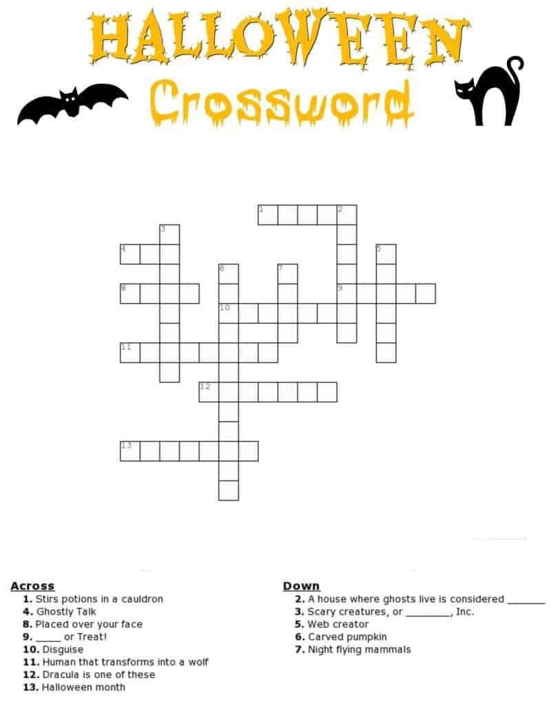 Halloween Crossword Puzzle Free Printable - Halloween Crossword Printable Free