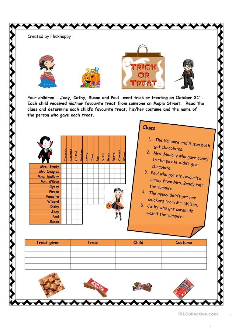 Halloween Logic Puzzle Worksheet - Free Esl Printable Worksheets - Free Printable Halloween Puzzles