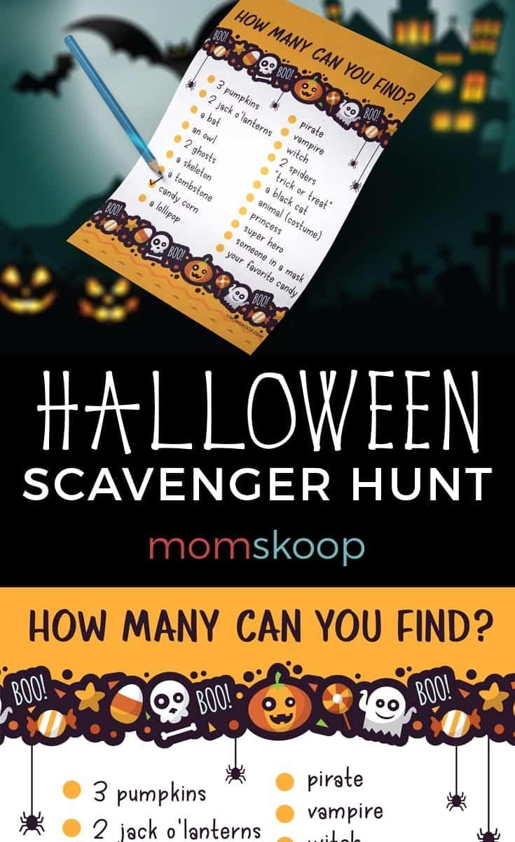 Halloween Night Scavenger Hunt - Free Printable - Momskoop - Free Printable Halloween Scavenger Hunt