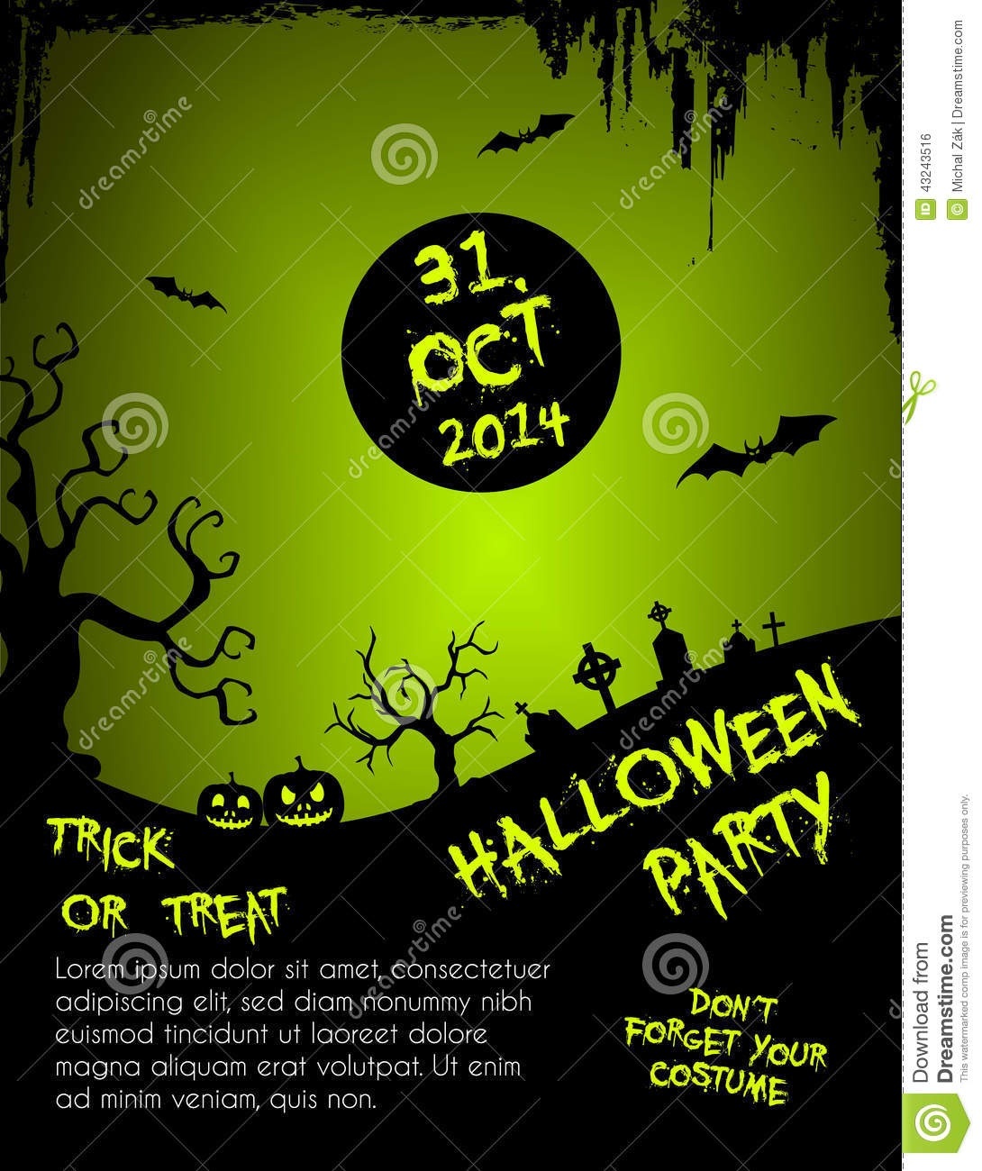 Halloween Party Flyer Template - Green And Black Stock Vector - Free Printable Halloween Flyer Templates