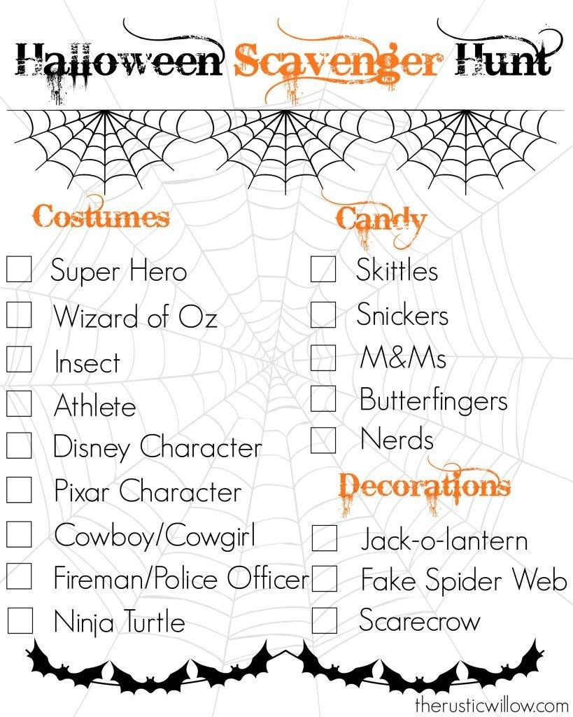 Halloween Scavenger Hunt--Free Printable | Therusticwillow - Free Printable Halloween Games For Kids