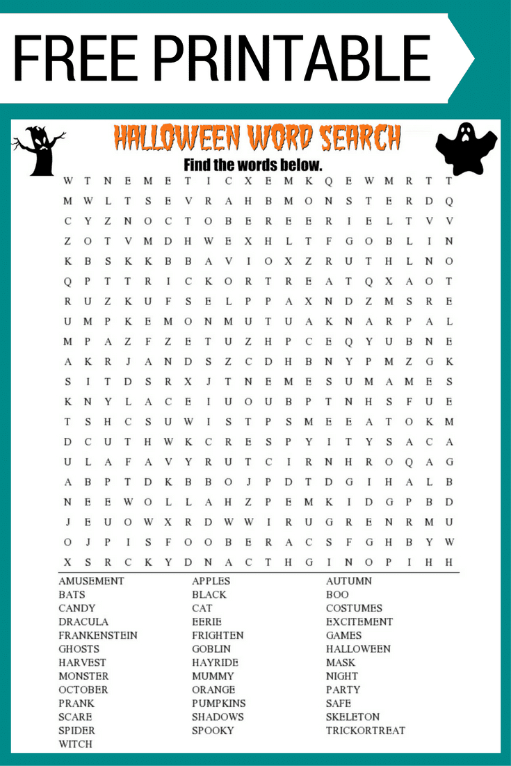 Halloween Word Search Printable Worksheet - Free Printable Halloween Puzzles