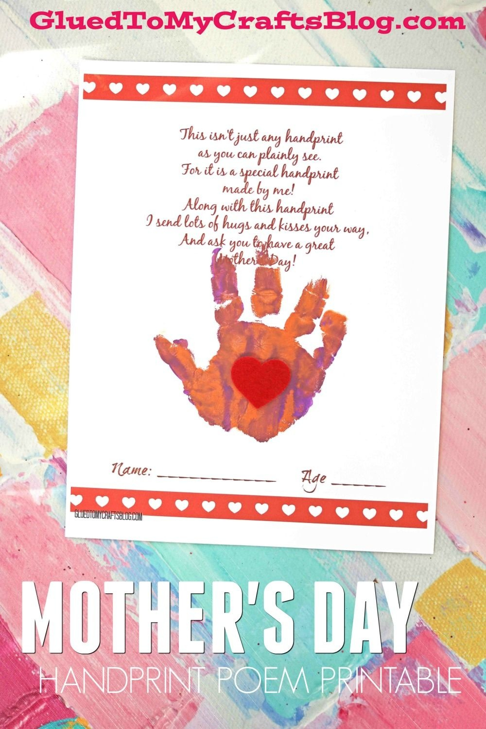 Handprint Mother's Day Poem Printable | Glued To My Crafts - Free Printable Mothers Day Poems