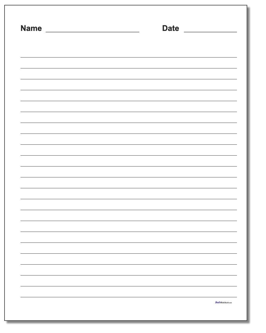Handwriting Paper - Blank Handwriting Worksheets Printable Free