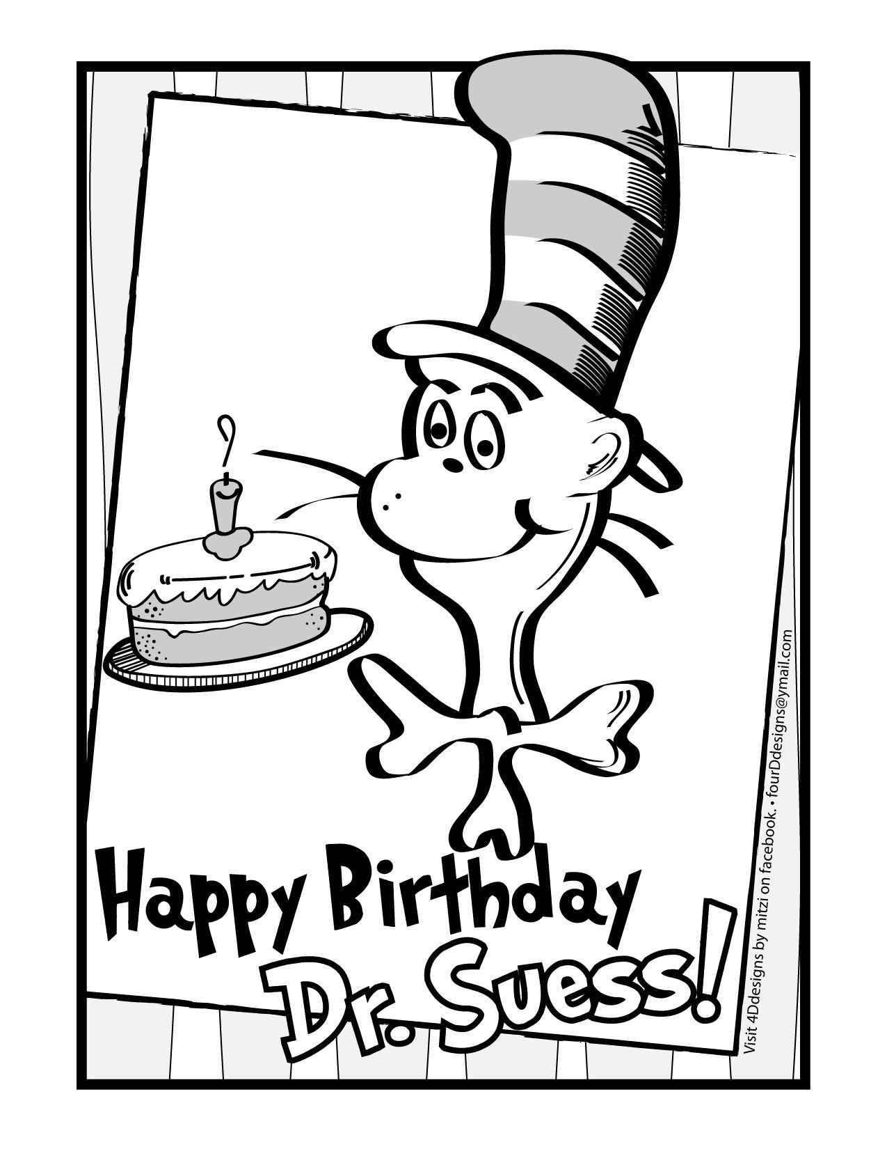 Happy Birthday Dr. Suess! Coloring Page • Free Download   Dr Seuss - Free Printable Dr Seuss Coloring Pages