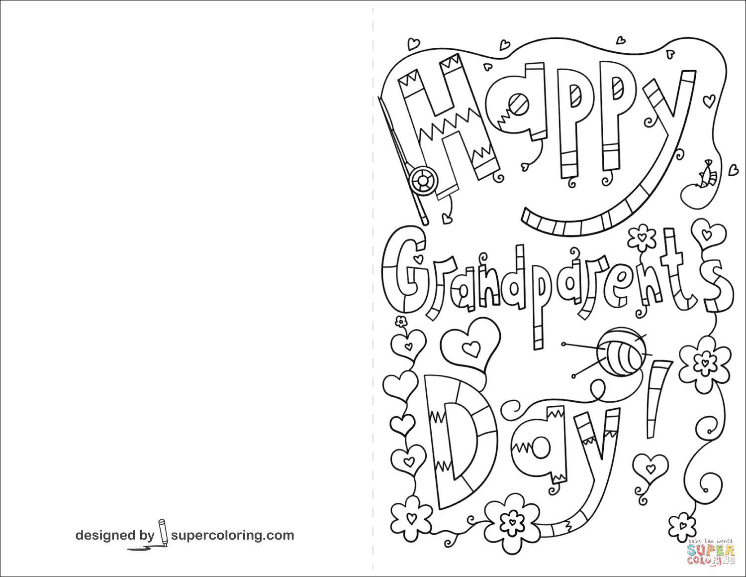 Happy Grandparents Day Doodle Card Coloring Page | Free Printable - Grandparents Day Cards Printable Free