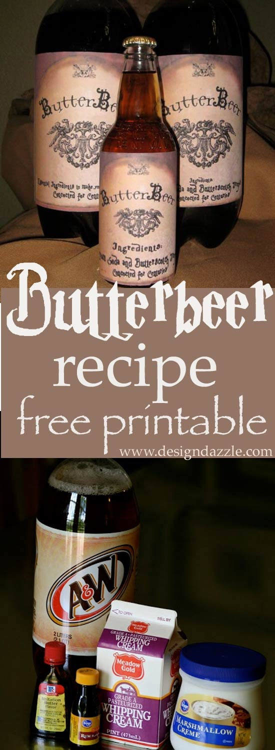 Harry Potter Butterbeer Free Printable - Design Dazzle - Free Printable Butterbeer Labels