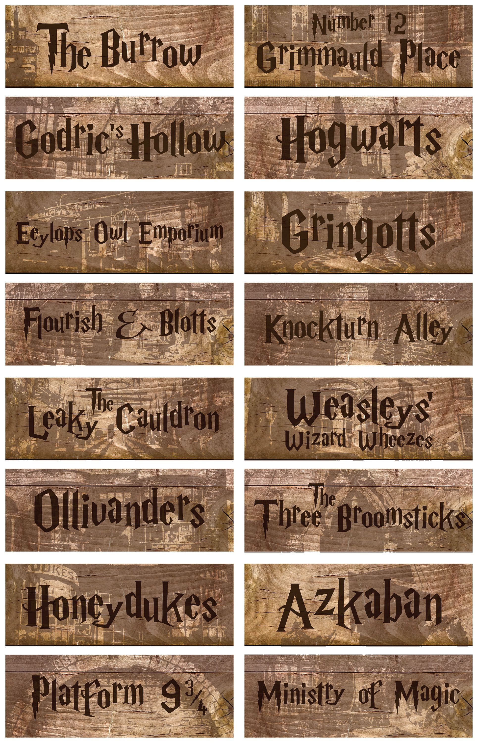 Harry Potter Printable Location Signs Wizarding World | Harry Potter - Free Harry Potter Printable Signs