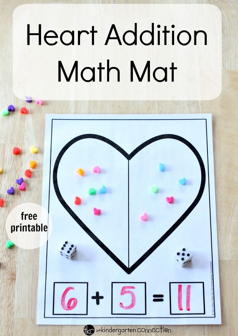 Heart Addition Math Mat | Kinderland Collaborative | Kindergarten - Free Printable Math Centers