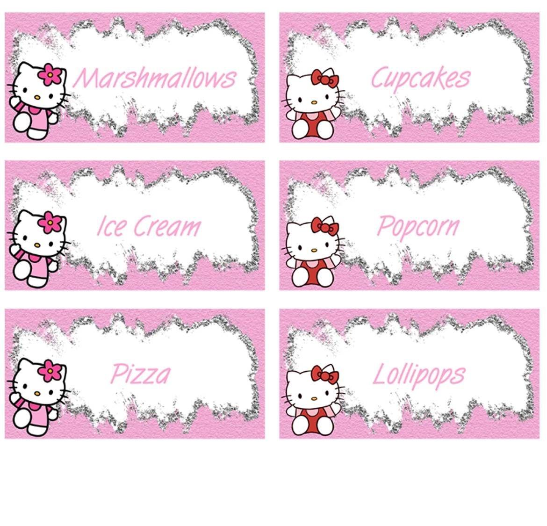 Hello Kitty Food Labels - Free Pdf Download | Birthday Party Kids - Hello Kitty Name Tags Printable Free