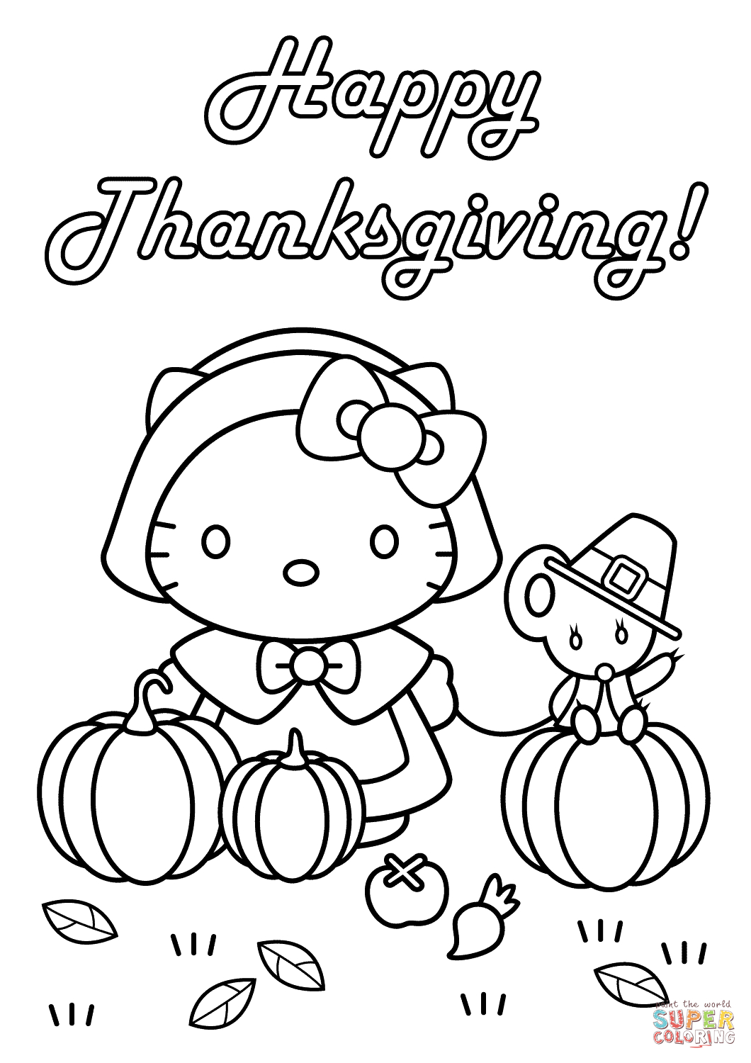 Hello Kitty Happy Thanksgiving Coloring Page   Free Printable - Free Printable Thanksgiving Coloring Pages