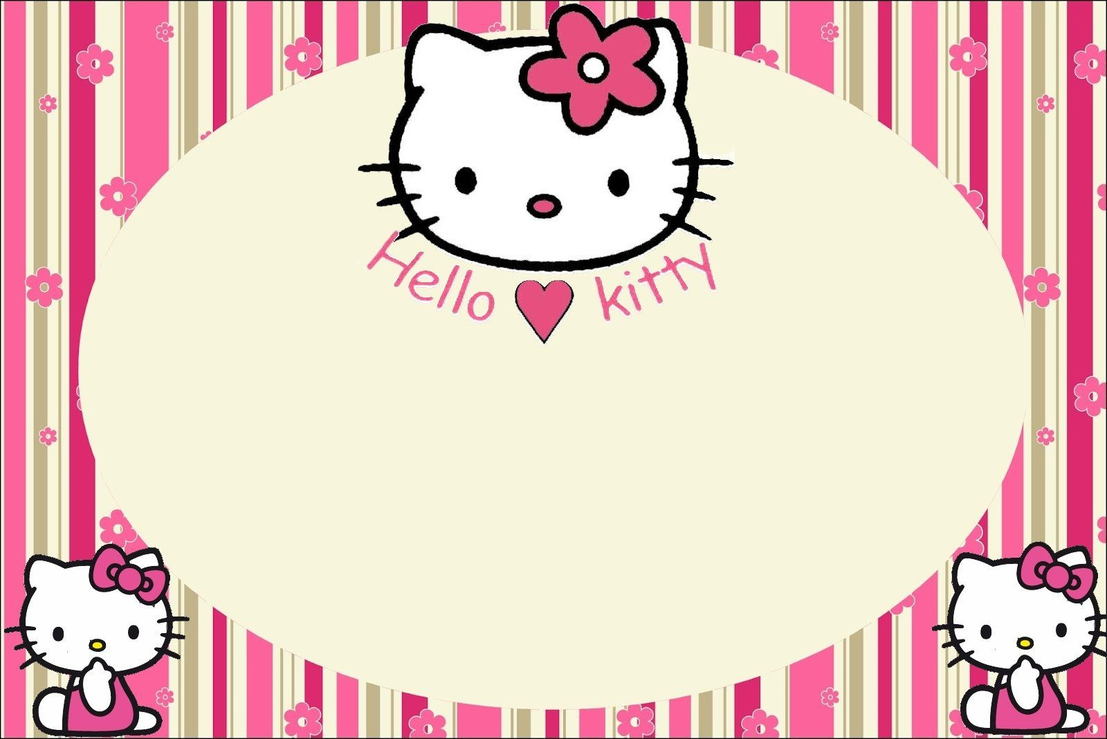 Hello Kitty With Flowers: Free Printable Invitations. | Labels - Hello Kitty Labels Printable Free
