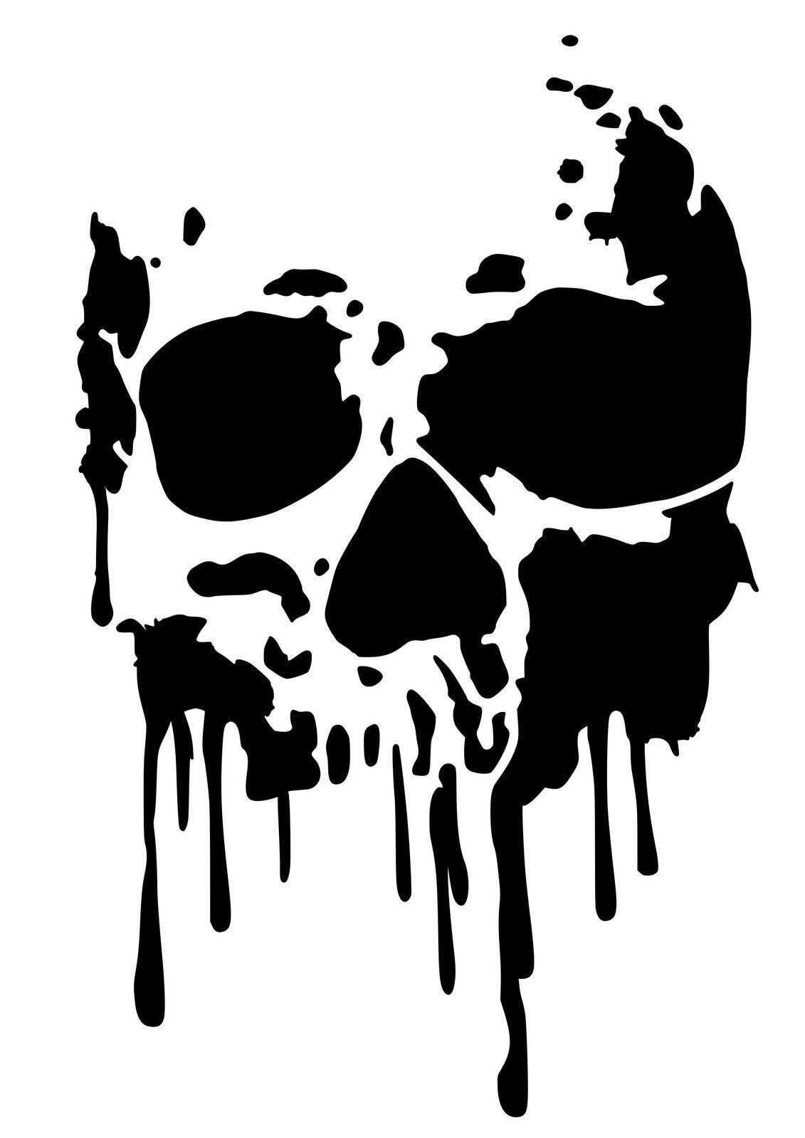 High Detail Dripping Skull Airbrush Stencil - Free Uk Postage For - Free Printable Airbrush Stencils