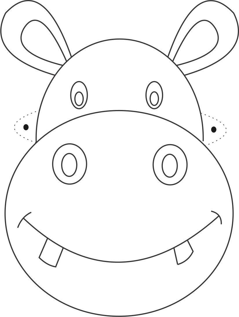 Hippo Mask Printable Coloring Page For Kids | Çizimler | Animal Mask - Giraffe Mask Template Printable Free