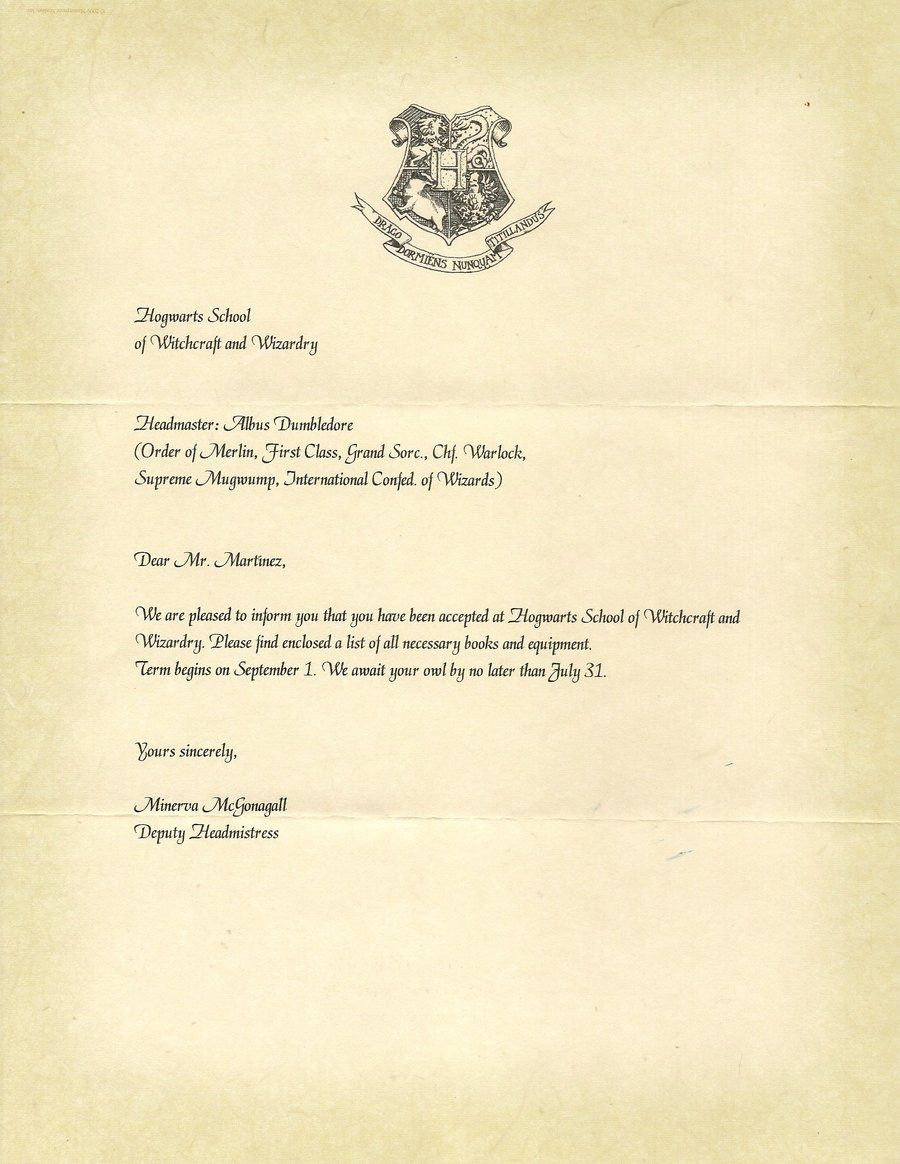 Hogwarts Letter Of Acceptance. I've Received Mine. (: | Favorite - Hogwarts Acceptance Letter Template Free Printable