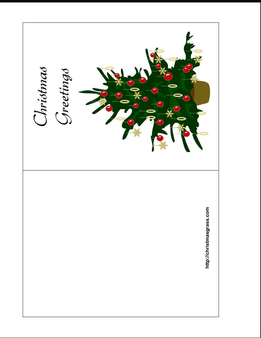 Holiday Greeting Card With Christmas Tree - Free Printable Christmas Cards