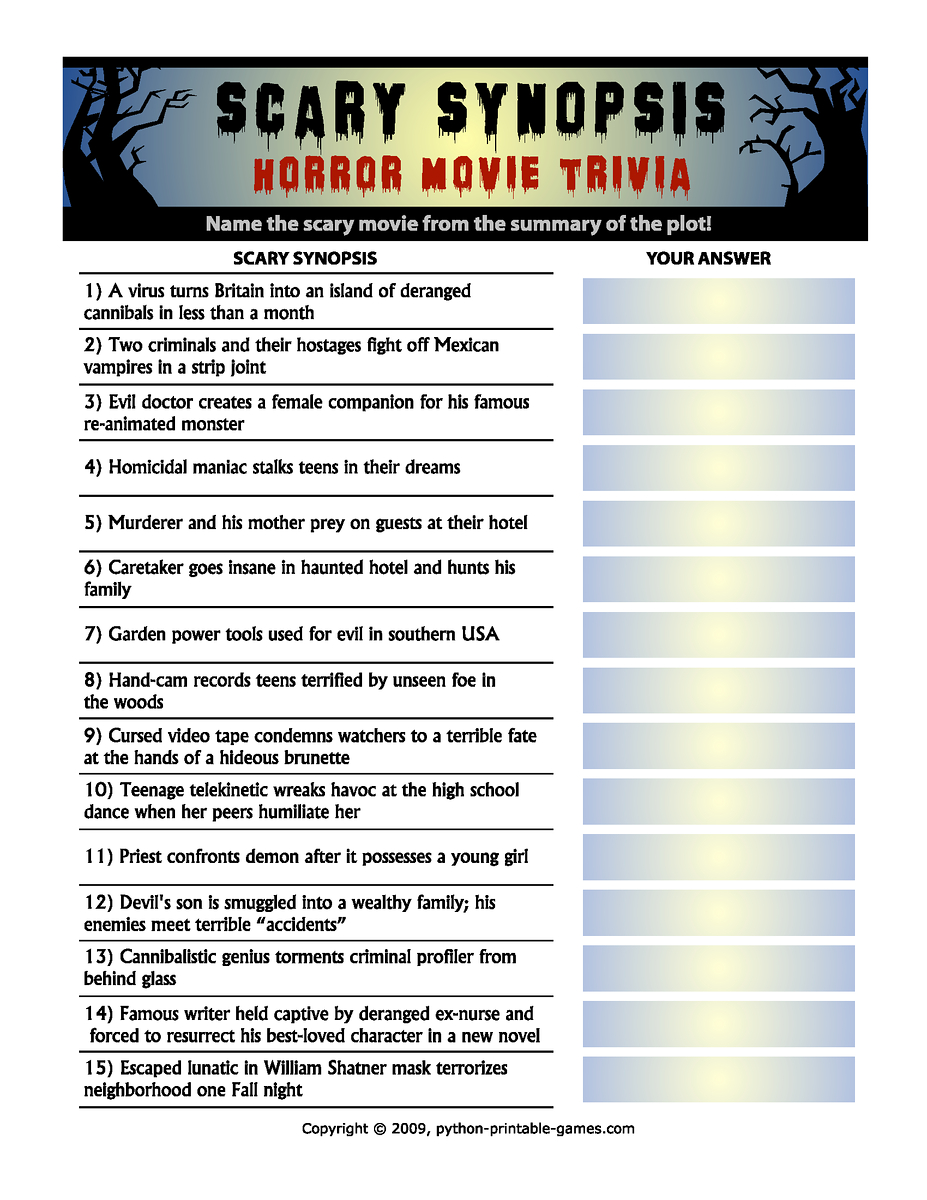 Horror Movie Trivia: Scary Synopsis | Halloween | Halloween Games - Halloween Trivia Questions And Answers Free Printable