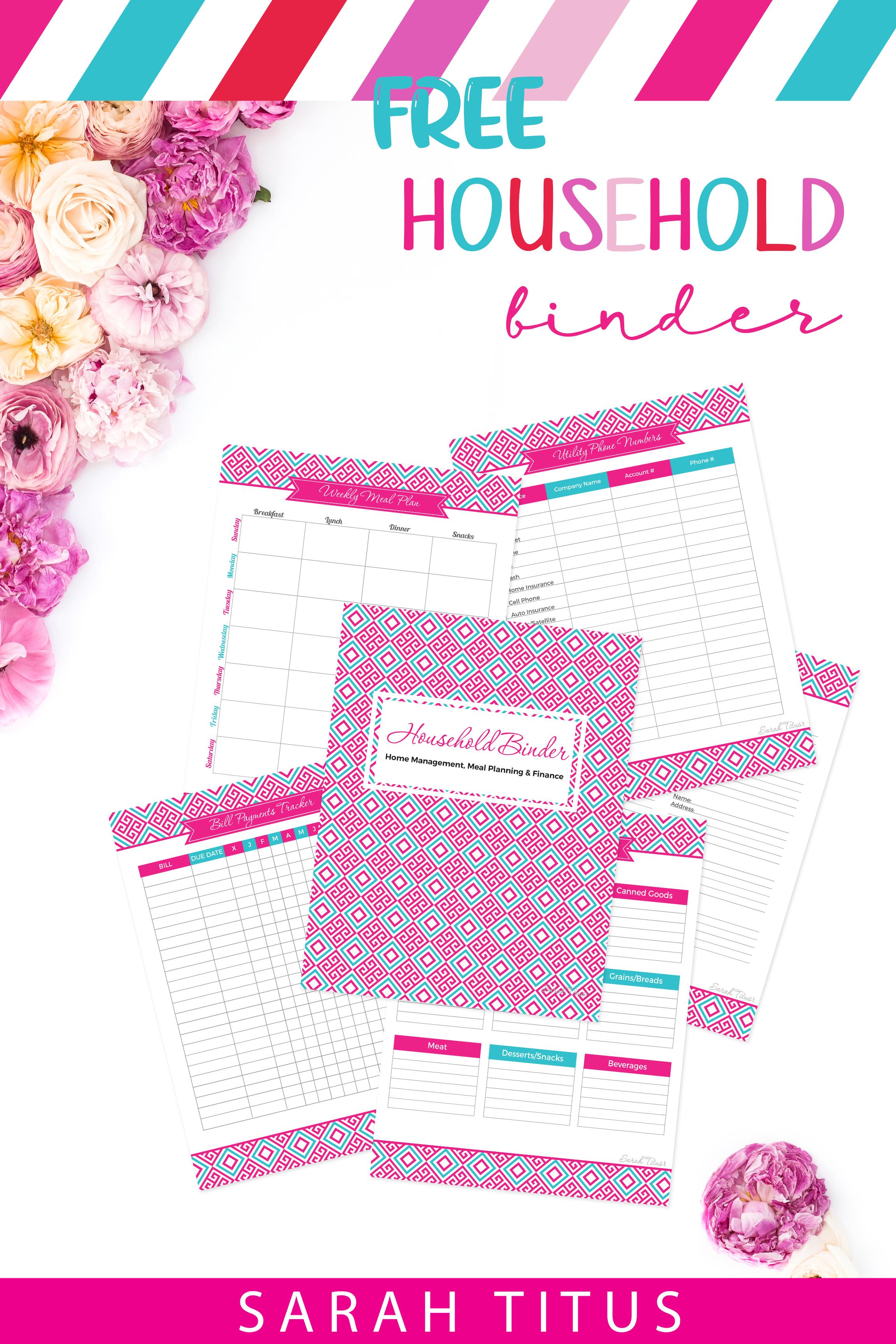 Household Binder Free Printables - Sarah Titus - Free Printable Household Binder